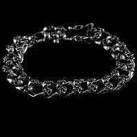Totenkopf Armband massivem Silber 2 reihig small