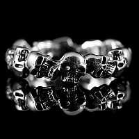 Schmaler Totenkopfring 925er Silber