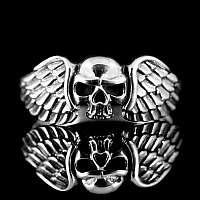 Totenkopfringe mit Flügeln aus 925 Sterling Silber