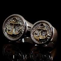 Hochzeitsringe, Trauringe mit Anker aus 750er Gold und 935er Silber