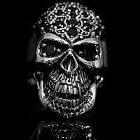 Vampir Skullringe mit Fleur de Lis