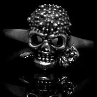 Zierliche Skullringe mit Rose